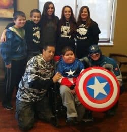 Joey, parents and siblings with Captain America