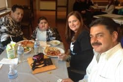 Joey and his family enjoy dinner