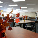 close up of dining room tables and fall centerpieces