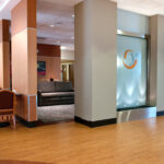 An interior shot of dining room tables at Bridgeport Healthcare Center