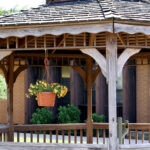 Outside gazebo in courtyard at Crestwood Care Center