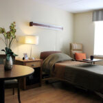 a single bed patient room at Fayette Health And Rehabilitation Center
