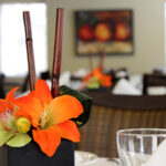 a close up on a dining room centerpiece at Fort Washington Health Center