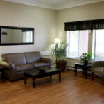 a waiting room lobby at Pebble Creek Healthcare Center
