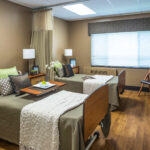 skilled nursing patient room with double beds