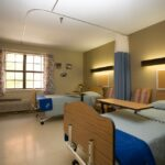 patient room at Indian Creek Healthcare Center with two beds